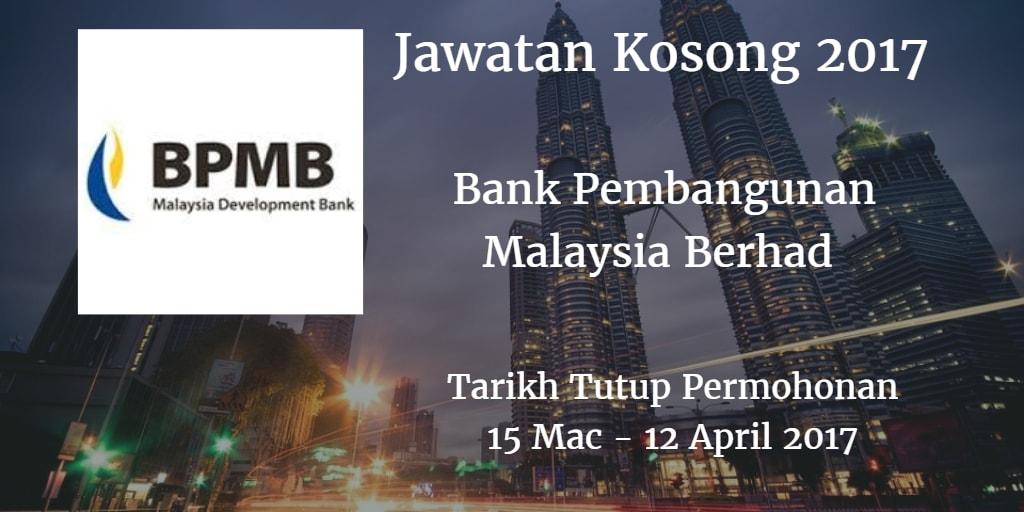 Jawatan Kosong BPMB 15 Mac - 12 April 2017
