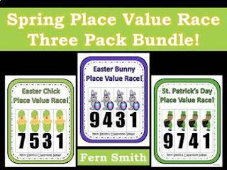 Spring Place Value Math Center Games Bundle