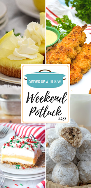 Weekend Potluck featured recipes include Mini Baked Lemon Cheesecakes, Nonna's City Chicken, Eggnog Dessert, Snowball Cookies, and more.