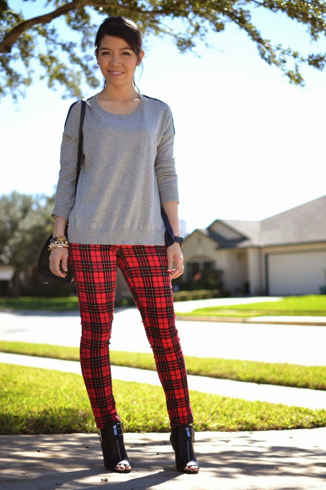 style and cappuccino  casual plaid  plaid pants  sweater