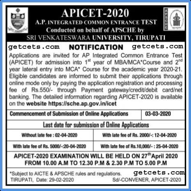 AP ICET notification 2020-2021 pdf, apply online, exam date