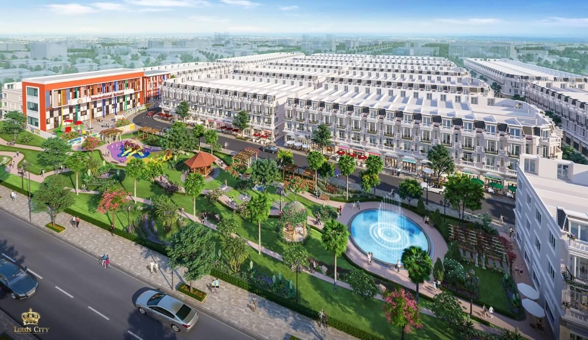 Công viên cây xanh dự án Louis City Hoàng Mai