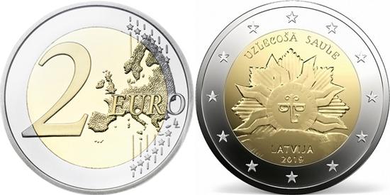 Latvia 2 euro 2019 Rising sun