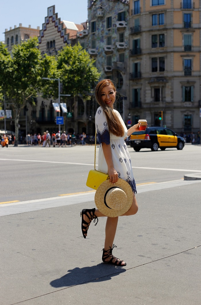 Chicwish boho garden lace dress, topshop lace up sandals, tory burch stitched robinson shoulder bag, lack of color straw hat, ring pack, barcelona, travel, fashion blog, casa mila, casa batllo, hermes bracelet