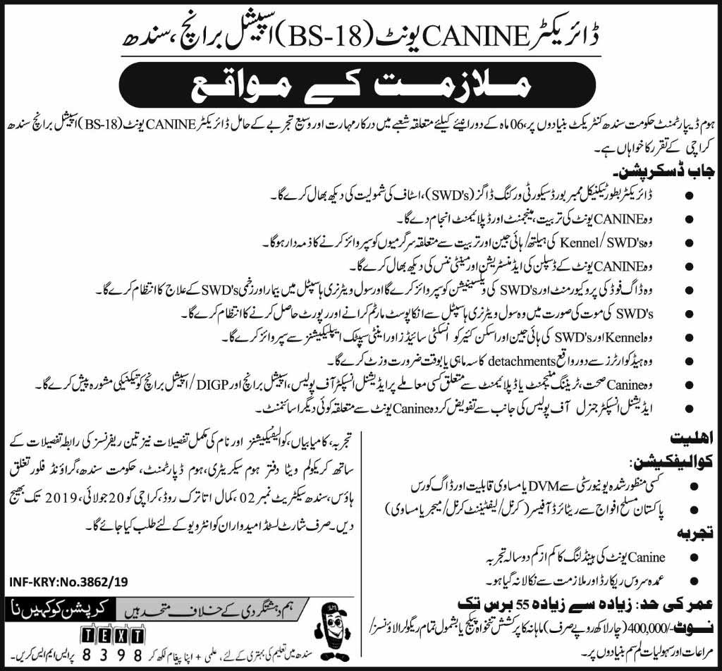 Home Department Govt of Sindh Jobs Last Date 20 July 2019