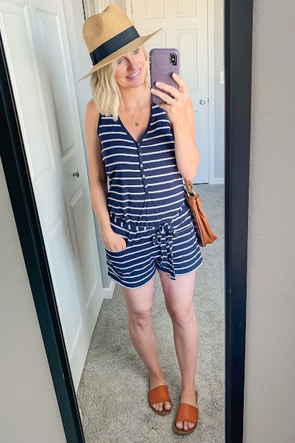 Thrifted postpartum summer outfit
