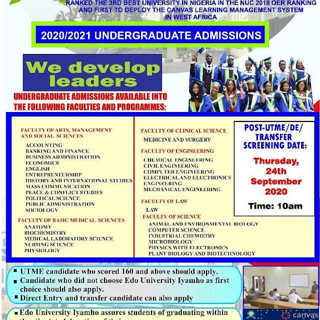 Edo University Iyamho Post-UTME / DE Screening Form 2020/2021