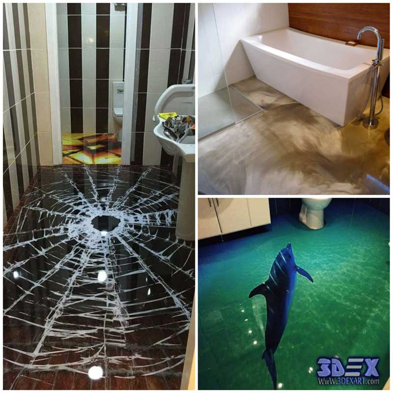 All secrets of 3d epoxy flooring and 3d floor art designs for Bathroom floor mural sky
