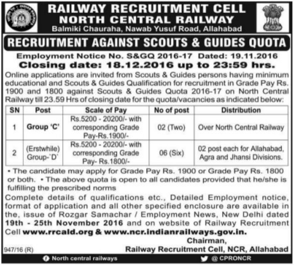 North Central Railway Scouts & Guides Recruitment