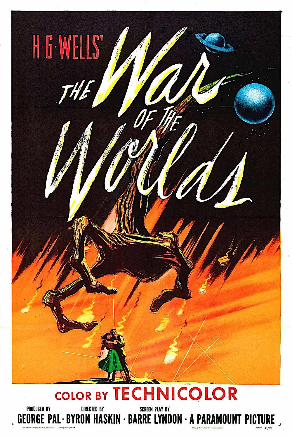 a poster for the 1953 film War Of The Worlds by H.G. Wells