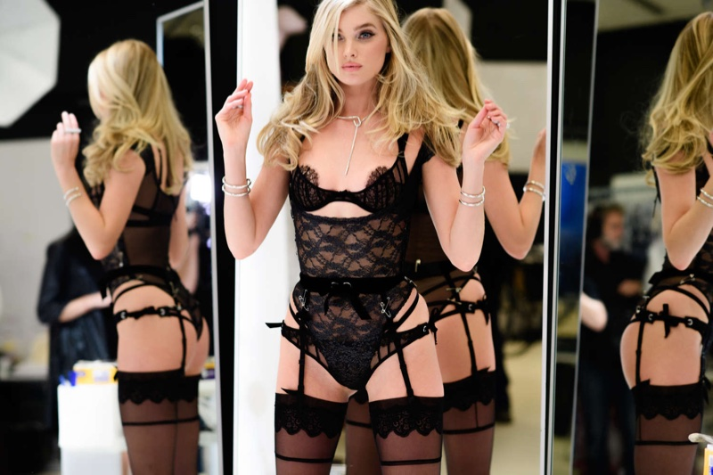 Elsa Hosk on set of 2016 Victoria's Secret Fashion Show fittings