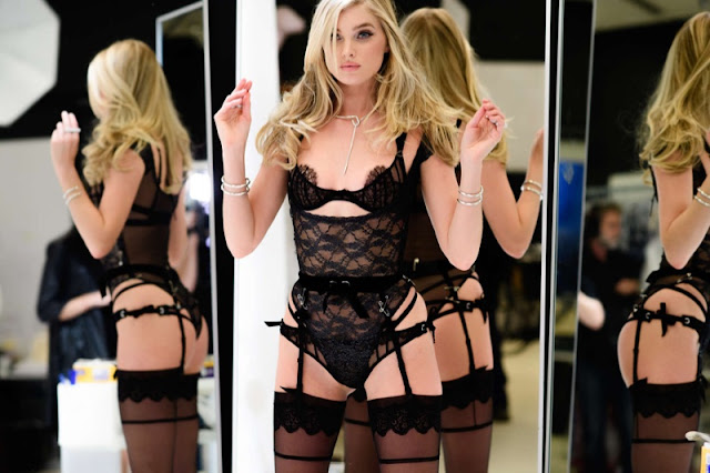 Elsa Hosk on set of Latest Victoria's Secret Fashion Show fittings