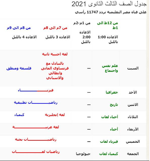 جدول قناة مصر التعليمية 2021 للصف الثالث الثانوي