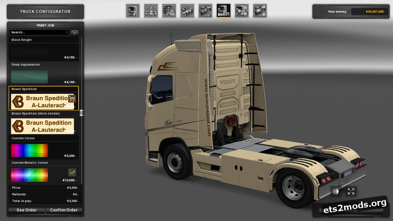 Braun Spedition Skin Pack for Volvo 2012 & 2013