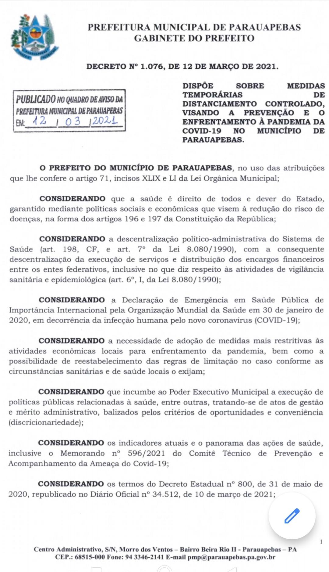 Prefeitura de Parauapebas publica novo decreto com medidas de prevenção a Covid-19