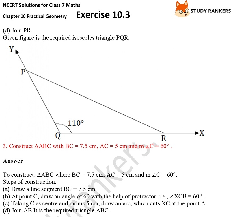 NCERT Solutions for Class 7 Maths Ch 10 Practical Geometry Exercise 10.3 2