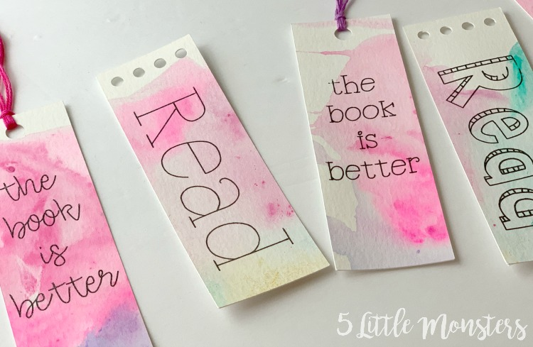 5 Little Monsters Watercolor Bookmarks