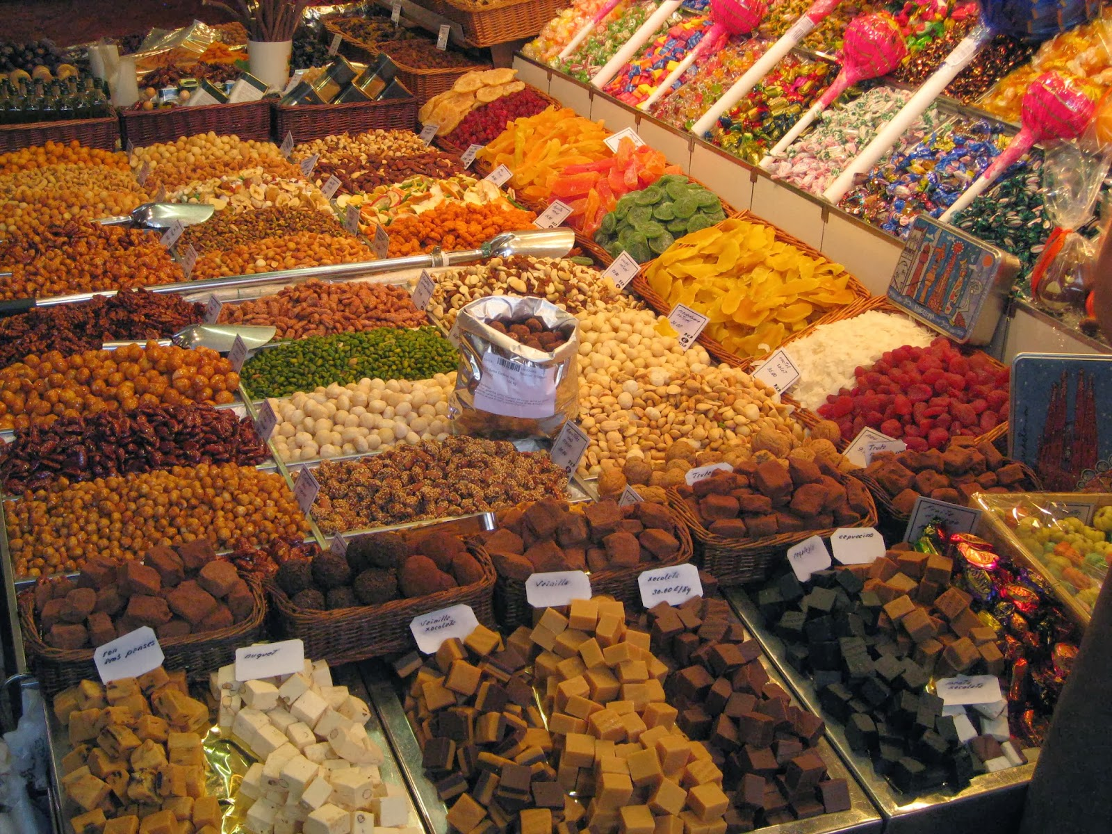 Barcelona - dried fruit and nuts in La Boqueria market