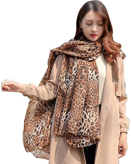 Pretty Leopard Print Silky Chiffon Scarves