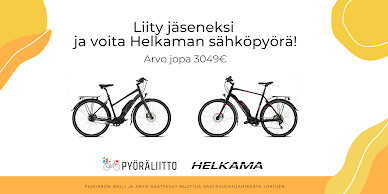 Kehoitus liittyä jäseneksi ja kuva Helkaman polkupyörästä. Arvo jopa 3049 €.