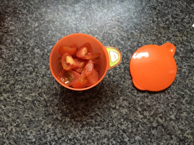 orange baby pot with lid