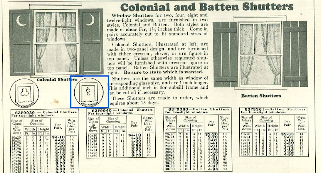 b&w image of catalog page showing shutters with small urn shape cut-out moon cut-out or clover cut-out or batten style in 1930 Sears Building Supplies catalog