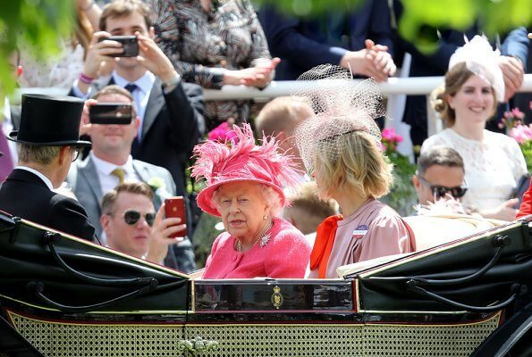 Queen Elizabeth II, Prince Andrew and Sarah Ferguson, Duchess of York attended the 4th day of the Royal Ascot