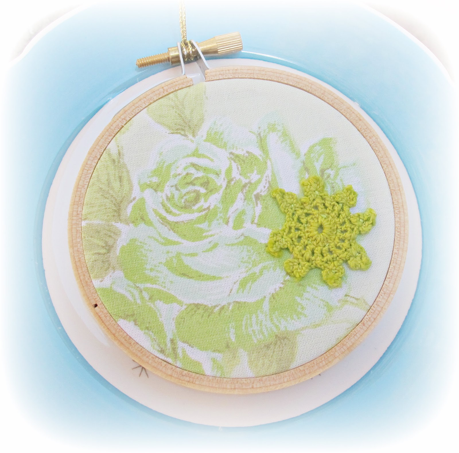 image vintage fabric christmas ornament embroidery hoop green roses bed linen chartreuse doily domum vindemia