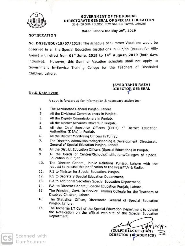 NOTIFICATION REGARDING SUMMER VACATIONS FOR SPECIAL EDUCATION INSTITUTIONS
