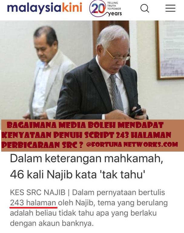 Bagaimana Media Boleh Mendapat Kenyataan Penuh Script 243 Halaman Perbicaraan SRC?