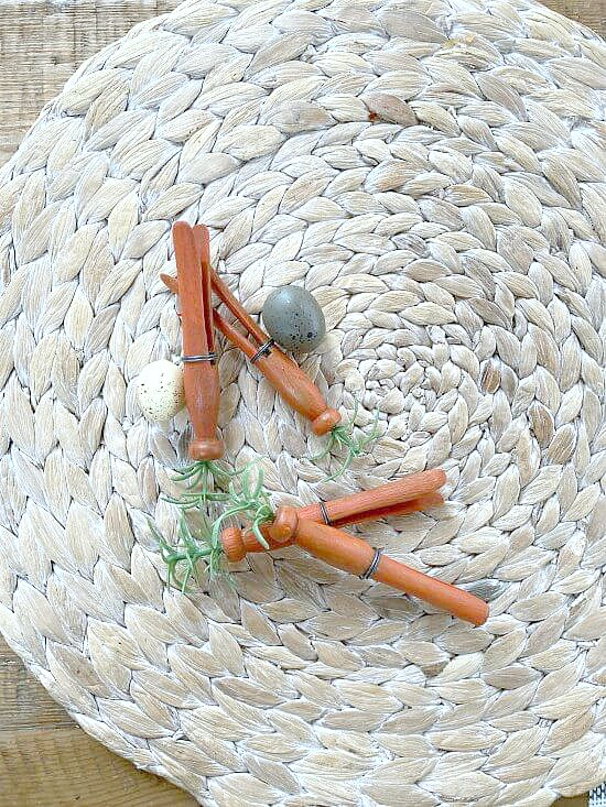 Top view of clothespin carrots and eggs