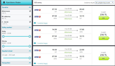 skyscanner uçak bileti fiyat listesi