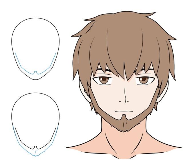 Anime beard with sideburns example