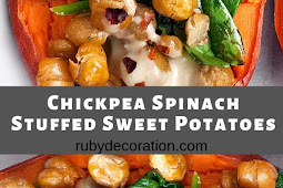 Chickpea Spinach Stuffed Sweet Potatoes