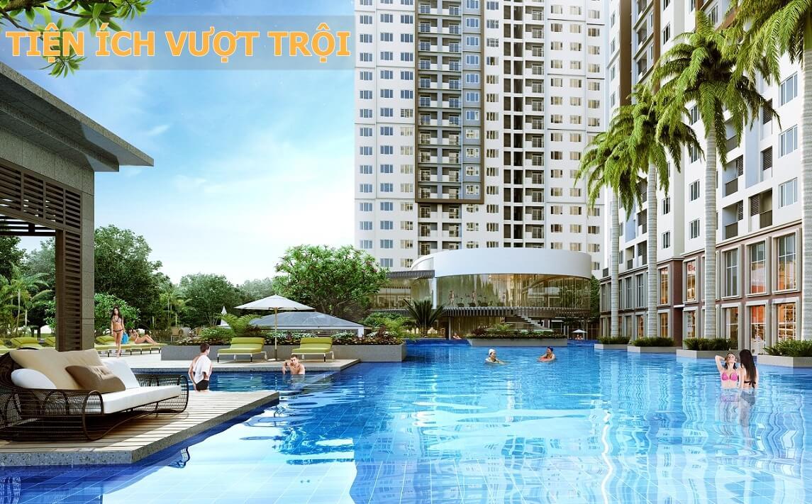 Bể bơi ngoài trời tại dự án căn hộ cao cấp Xuân Mai Tower