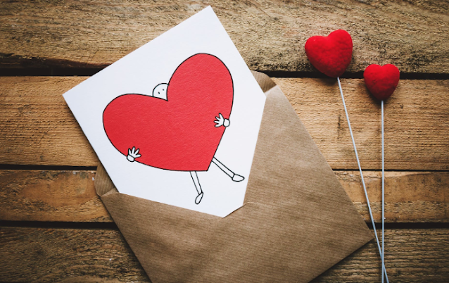Heart card in an envelope.