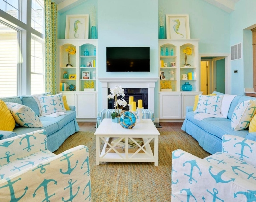 Pale Blue Coastal Living Room Wall Color Ideas