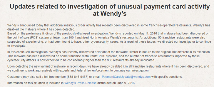 Over 1000 Wendy's Restaurants Hit by Credit Card Hack
