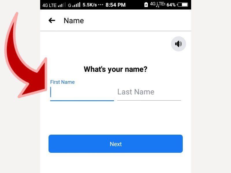 ફેસબુકમાં તમારું પ્રથમ અને છેલ્લું નામ લખો.