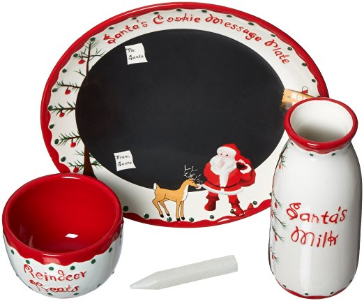 Christmas Santa and Cookies Plate