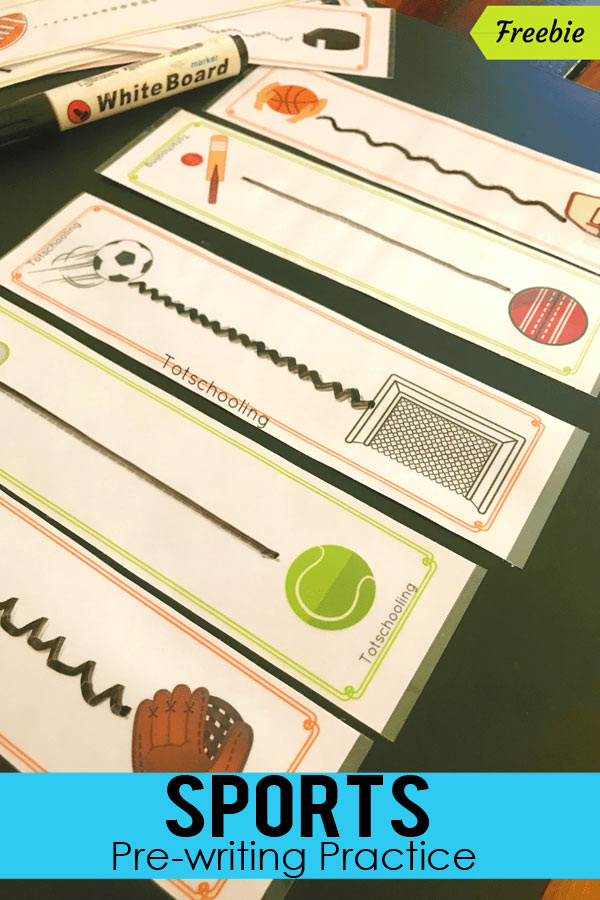 FREE printable Sports-theme pre-writing practice for preschool and kindergarten kids. Great fine motor activity and vocabulary learning as well!