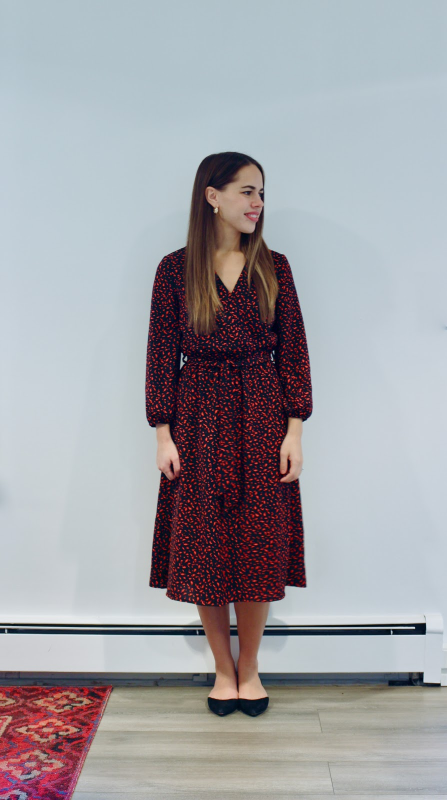 Jules in Flats - Midi Wrap Dress (Business Casual Fall Workwear on a Budget)
