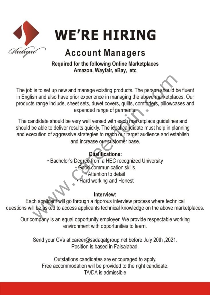 career@sadaqatgroup.com - Sadaqat Limited Jobs 2021 in Pakistan