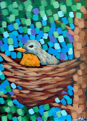 Spring song no. 3 painting by artist aaron kloss, painting of a robin in spring sitting on a next, pointillism, contemporary landscape painting
