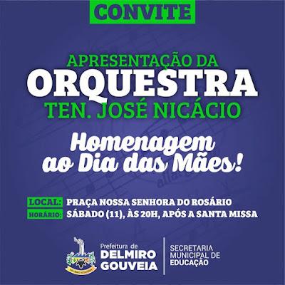 Orquestra Tenente José Nicácio faz apresentação em homenagem ao Dia das Mães em Delmiro Gouveia