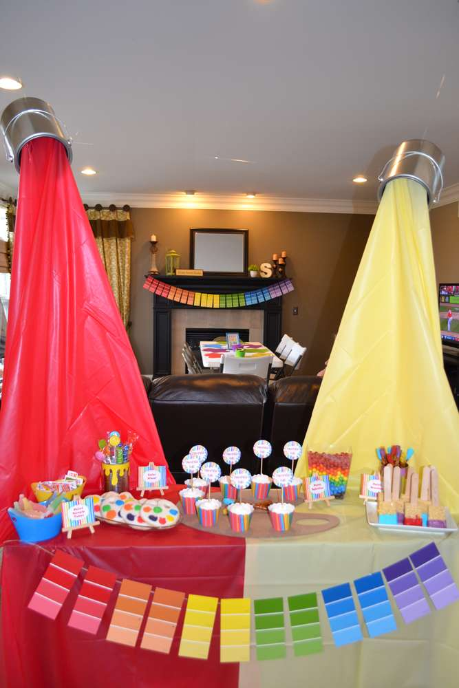 A glimpse inside 13 art party ideas for Decoration ideas 7th birthday party
