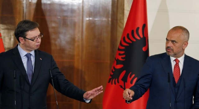 President of the New Yugoslavia, Aleksandar Vucic represents Albania and North Macedonia in France, critics say
