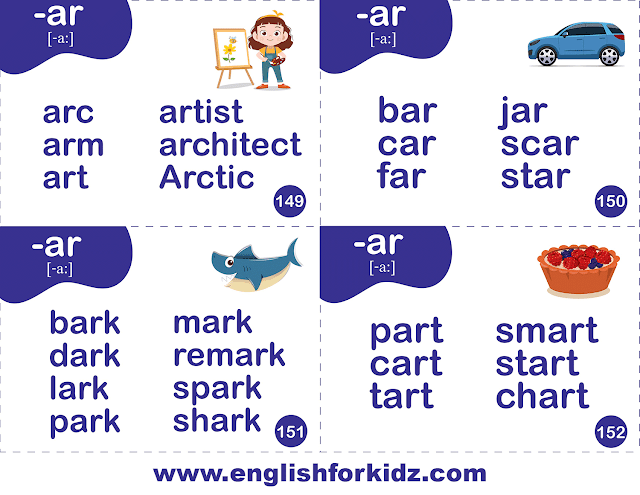 Printable phonics flashcards -- r-controlled sound