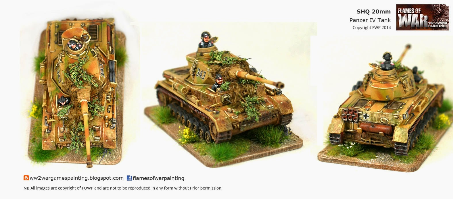 WW2 20mm painted SHQ German Panzer IV