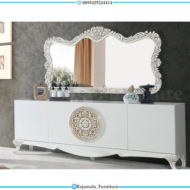 Meja Konsul Putih Mewah Luxury Jepara Terbaru Elegant Style RM-0410